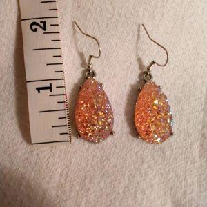 Peach Druzy Earrings